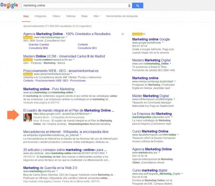 resultados de una búsqueda en Google