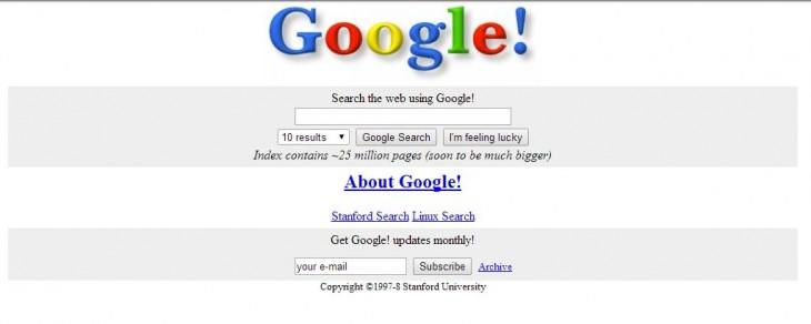 página principal de la búsqueda de Google en 1997