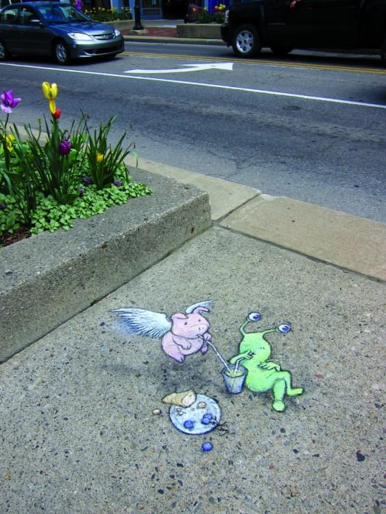desenhos 3D feitos com giz nas ruas de Michigan por David Zinn