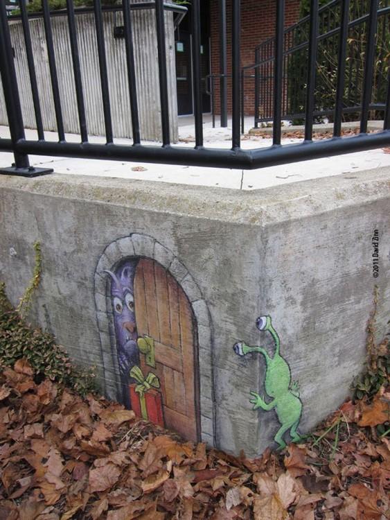 David Zinn creo dibujos en 3d que interactuan con las calles de Michigan