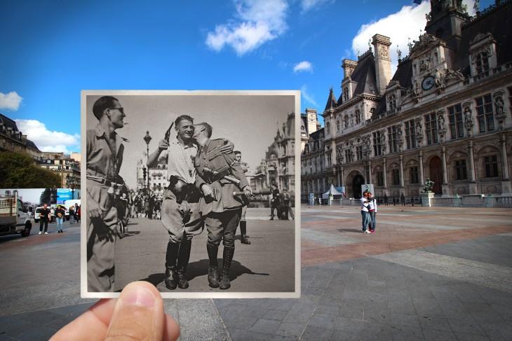 foto antigua sobre una fotografía actual de Hotel de Ville