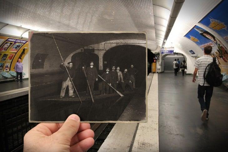 foto antigua sobre una fotografía actual Estación del metro Odéon, 1910