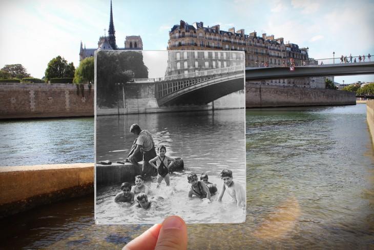 fotografías antiguas y nuevas de La seine Notre Dame, 1930