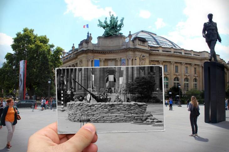 foto antigua insertada sobre una foto actual de Le Grand Palais, 1944