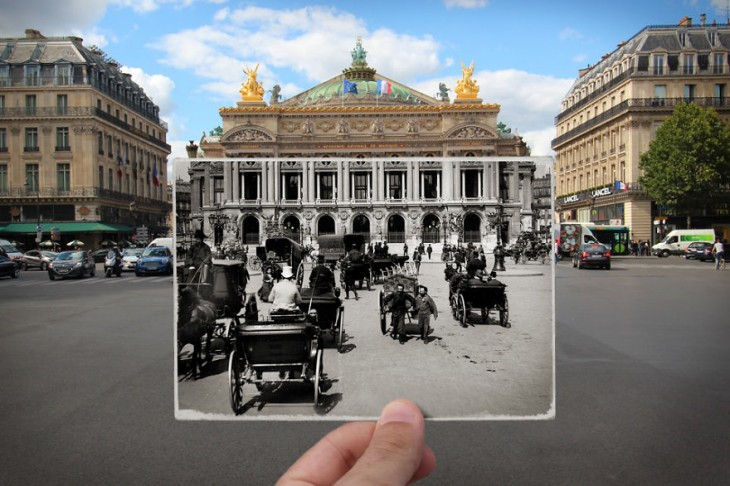 Plaza de la Opera, 1900 combinada con una fotografía actual