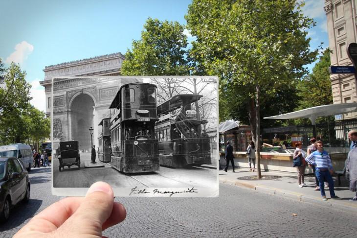 foto antigua sobre una fotografía actual de Arco de triunfo, 1909