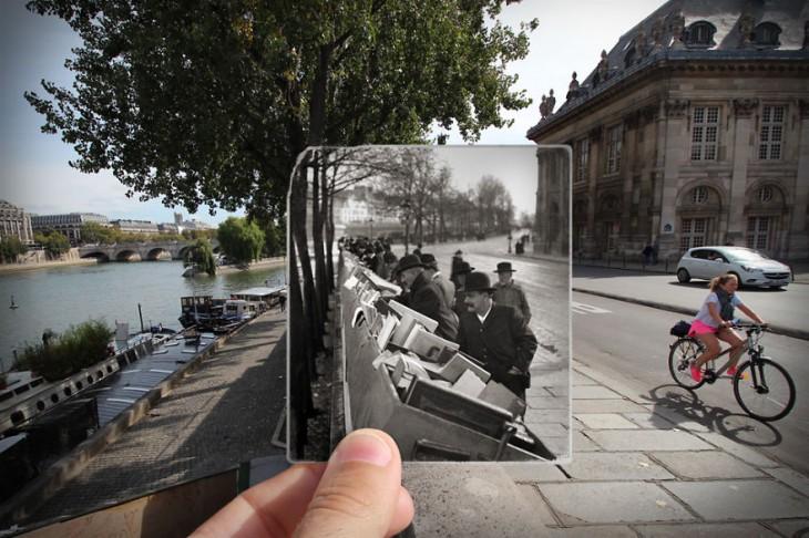 fotografía antigua insertada sobre una fotografía actual de Quai de Conti, 1900