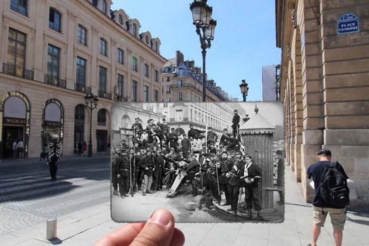 foto antigua y foto nueva de la plaza Vendome