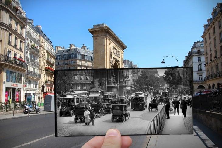 foto antigua sobre una foto actual de Boulevard Saint-Denis, 1910