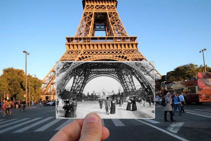 fotografía actual con una fotografía antigua de la Torre Eiffel