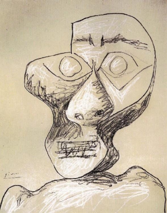 Autorretrato de Picasso hecho a sus 90 años el 2 de julio de 1972
