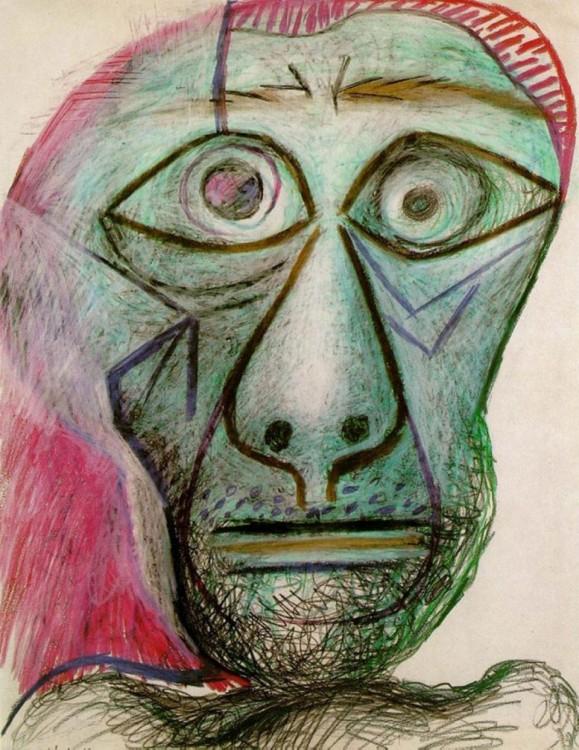 Autorretrato a cargo de Picasso hecha el 30 de junio de 1972 a sus 90 años de edad