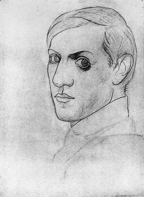 Autorretrato hecho por Pablo Picasso a sus 35 años en 1917