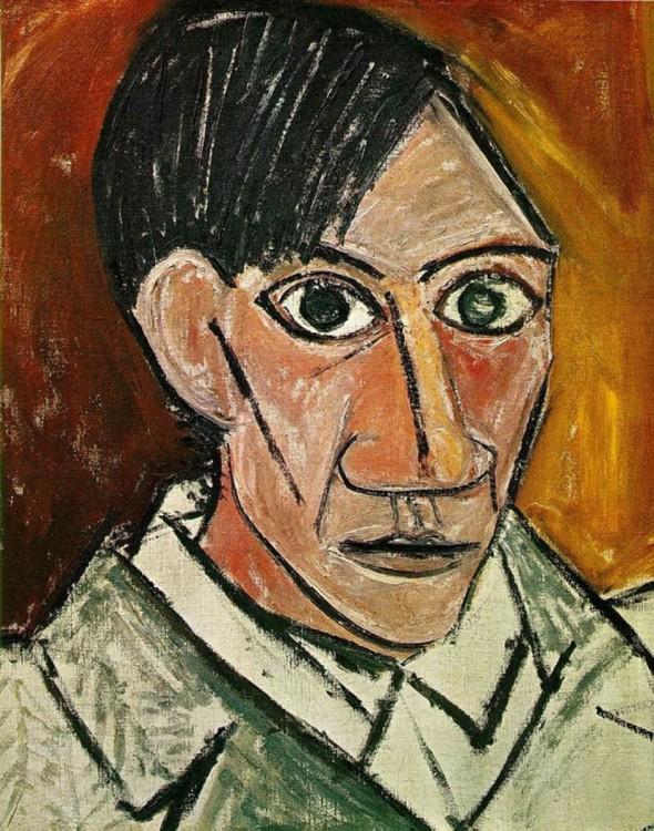 Autorretrato de Picasso hecho en el año 1907 a sus 25 años de edad