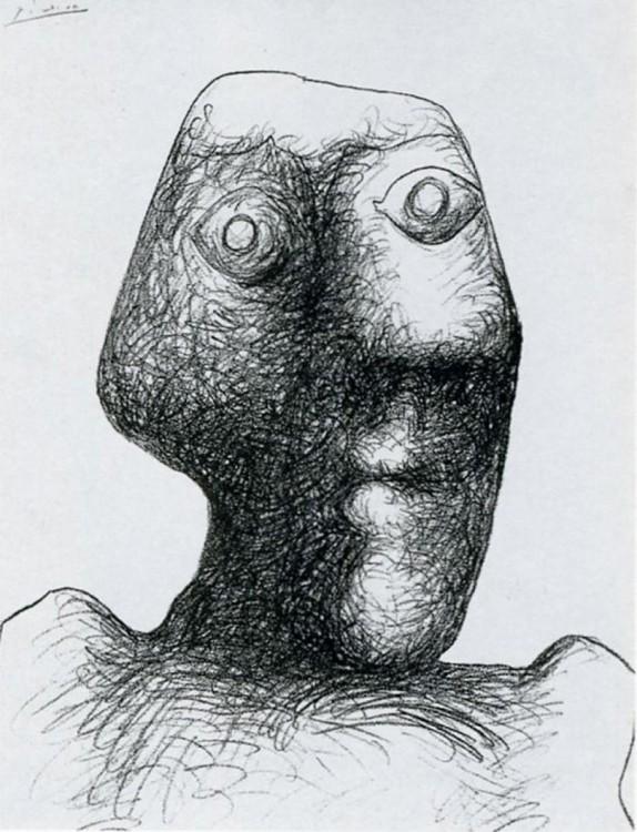 Autorretratos de Picasso hecho a sus 90 años el 3 de julio de 1972