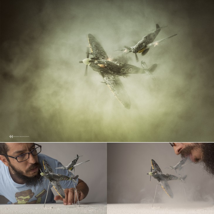 el fotógrafo Félix Hernández convirtió estos aviones de juguete en increíbles escenas