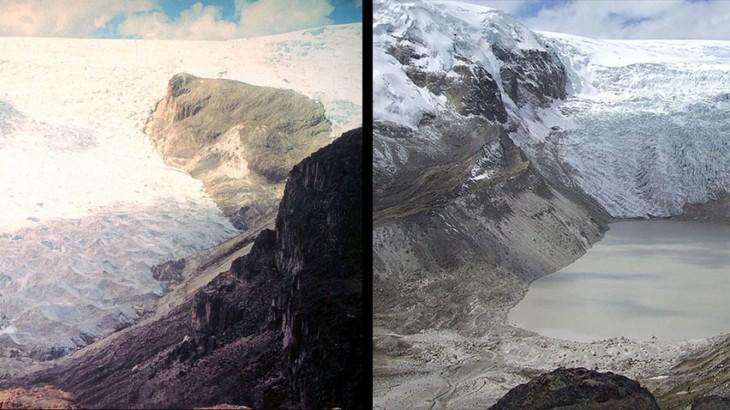 imagen del antes y después del derretimiento del glaciar Qori Kalis en Perú de 1978 a 2011
