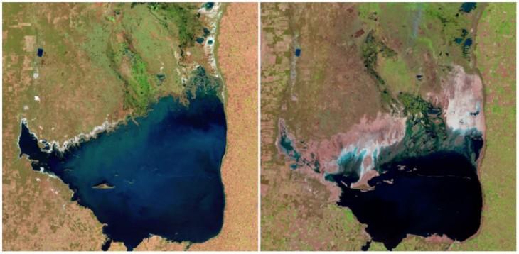 Lago Mar Chiquita, Argentina. Julio de1998 y septiembre de 2011