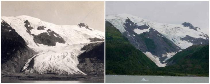 Glaciar Tobogán. Junio de 1909 y septiembre de 2000