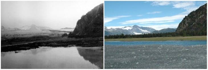 Glaciar Oso en Alaska, Julio de 1909 - Agosto de 2005