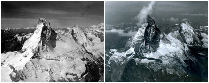 Montaña Matterhorn, Alpes, en la frontera entre Suiza e Italia. Agosto de1960 y agosto de 2005