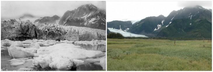 Fotografía del antes y ahora del Glaciar Pederson en Alaska
