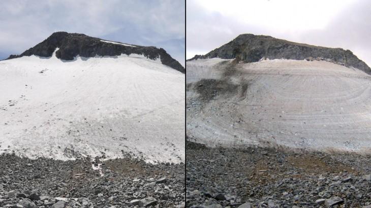 foto del antes y ahora del glaciar lyell en el parque nacional Yosemite de 2009 a 2014