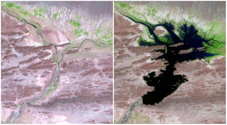 Río Dasht, Pakistán, lugar de construcción de la presa Mirani que suministra agua potable y energía a los alrededores