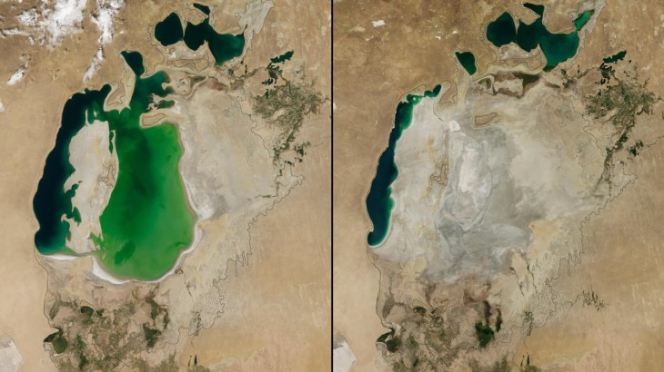 imagen del antes y ahora del Mar de Aral en Asia Central de agosto de 2000 a agosto de 2014