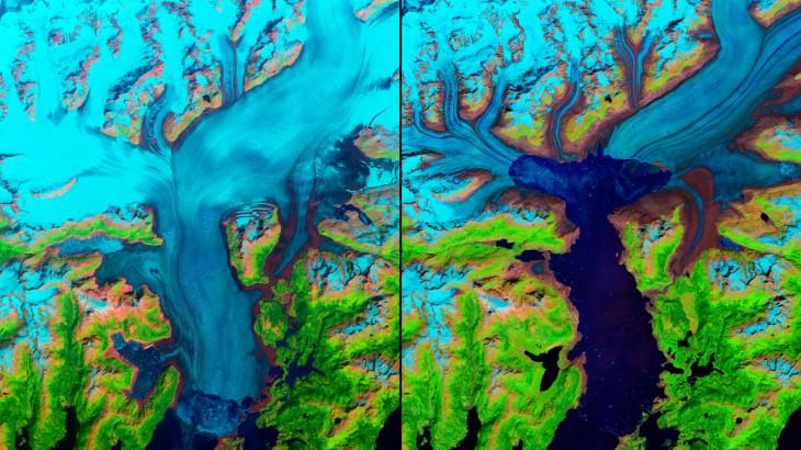 imagen antes y después del glaciar columbia en Alaska de 1986 a 2014