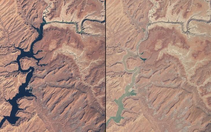 Fotografía que muestra la sequía del lago powell de marzo de 1999 a mayo de 2014