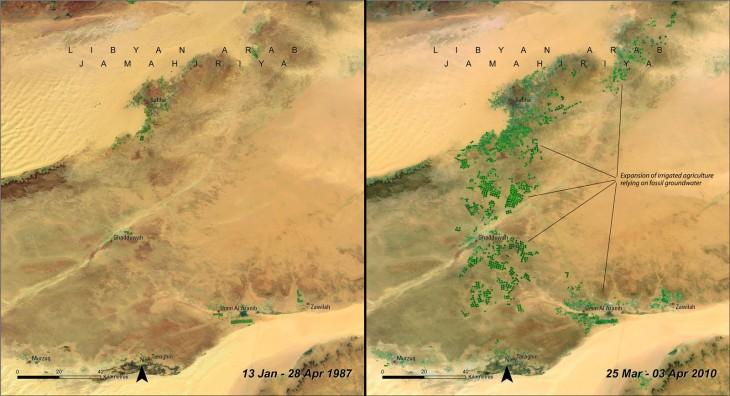 Río artificial hecho por el hombre en Libia fotografía de abril de 1987 a abril de 2010