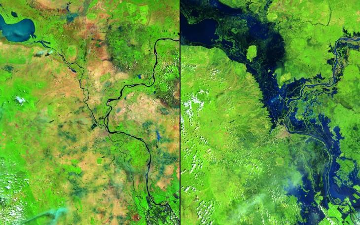 Inundaciones en Tifón Nari entre los ríos Mekong y Tonle Sap en Camboya de mayo de 2013 a octubre de 2013.