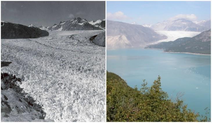 Glacial Muir, Alaska. Agosto de 1941 y agosto de 2004