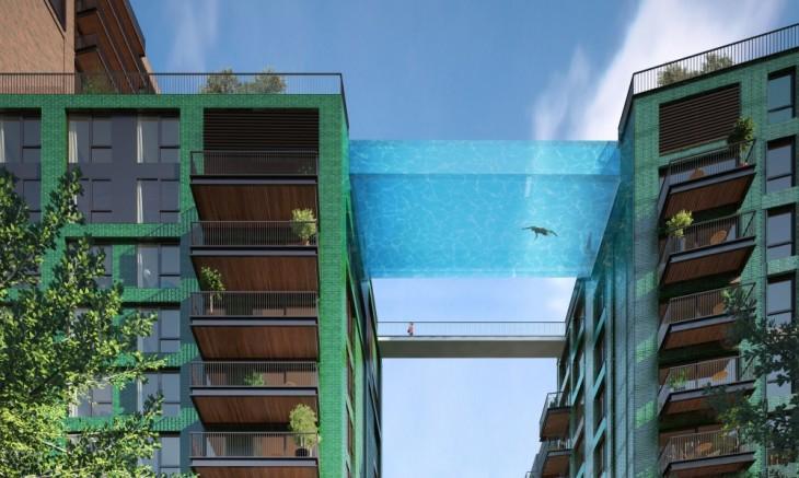 imagen que muestra el diseño del proyecto de la piscina entre dos edificios en Londres