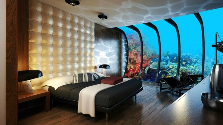 Lujosa habitación de un hotel submarino en Dubai