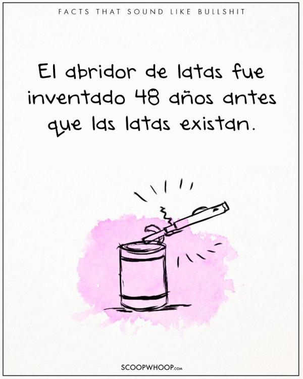 EL ABRELATAS SE DESCUBRIO 48 AÑOS ANTES DE HABER INVENTADO LA LATA