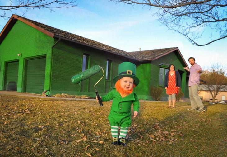 Hombre disfraza a su hijo de un adorable Leprechaun para celebrar el día de san patricio