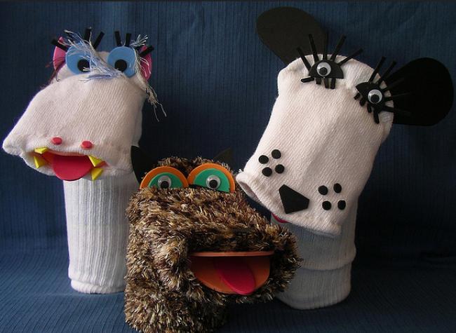 Títeres hechos con calcetines