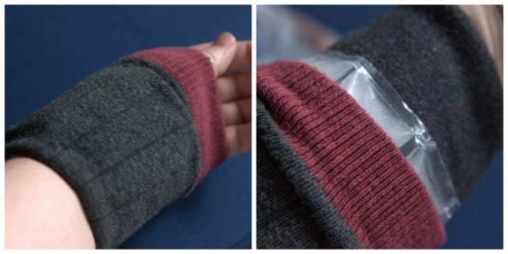 bolsa de hielo hecha con calcetines