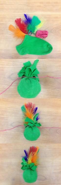 Sock inigualável usado para fazer um brinquedo para seu animal de estimação