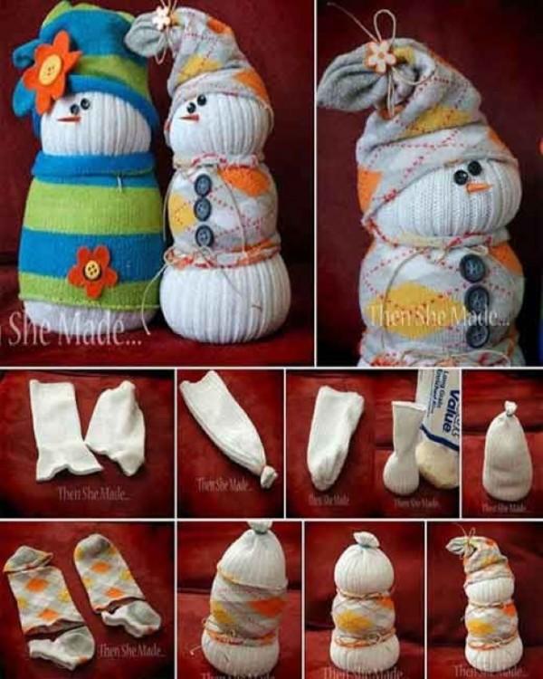 calcetines sin par convertidos en un muñeco de nieve