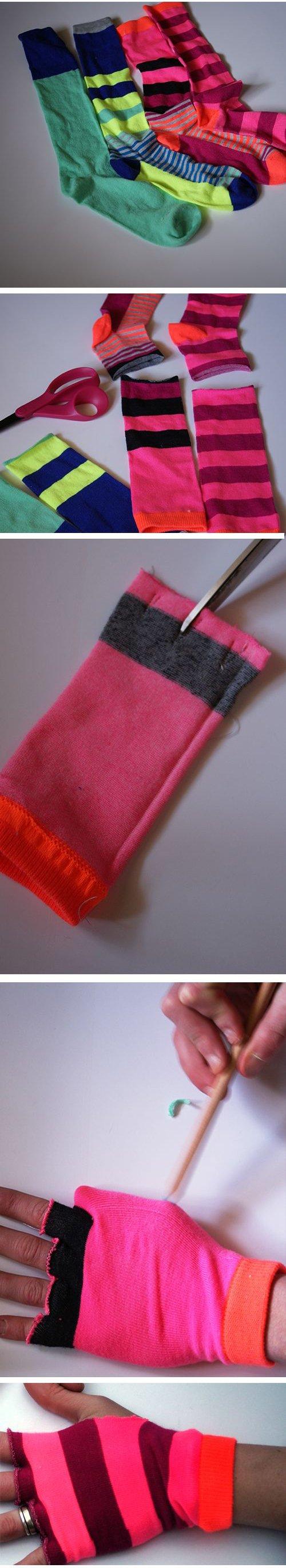 proceso para convertir viejos calcetines en unos guantes