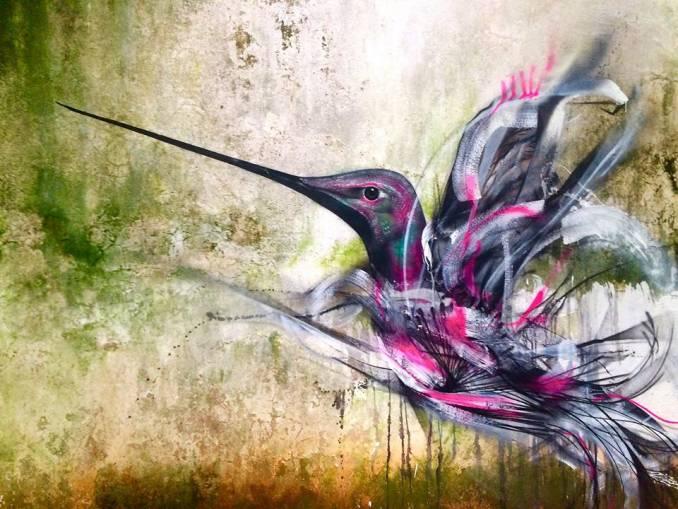 dibujo de un colibrí en una de las paredes de Sao Paulo