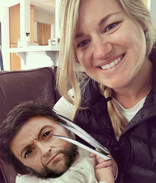 Isabelle Kaplan, la bebé con mucho cabello con el photoshop de la cara de Wolverine