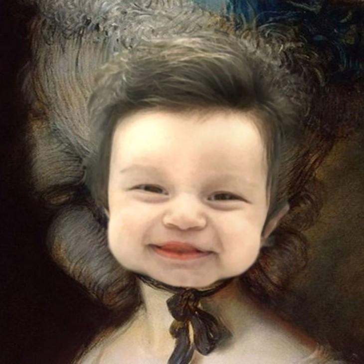 cara de Isabelle Kaplan, la bebé con mucho cabello en una pintura del arte rococó