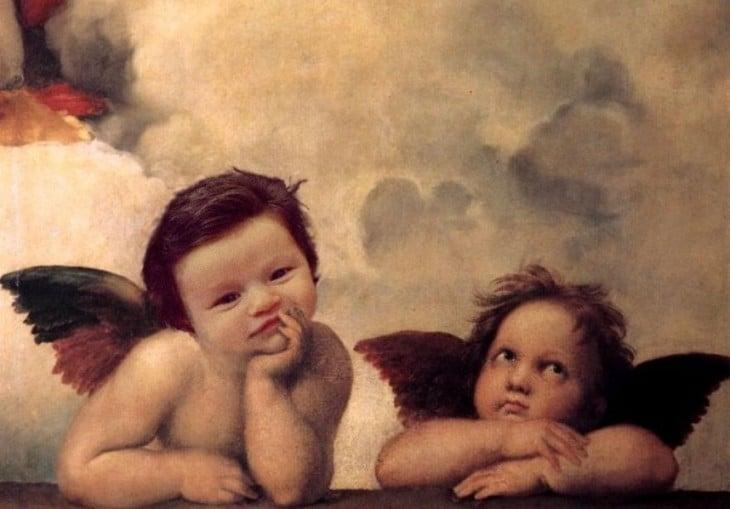 cara de la bebé con mucho cabello en una pintura de angelitos