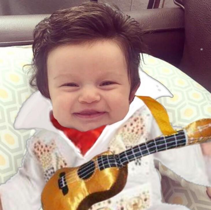 photoshop de la bebé con mucho cabello vestida de elvis presley