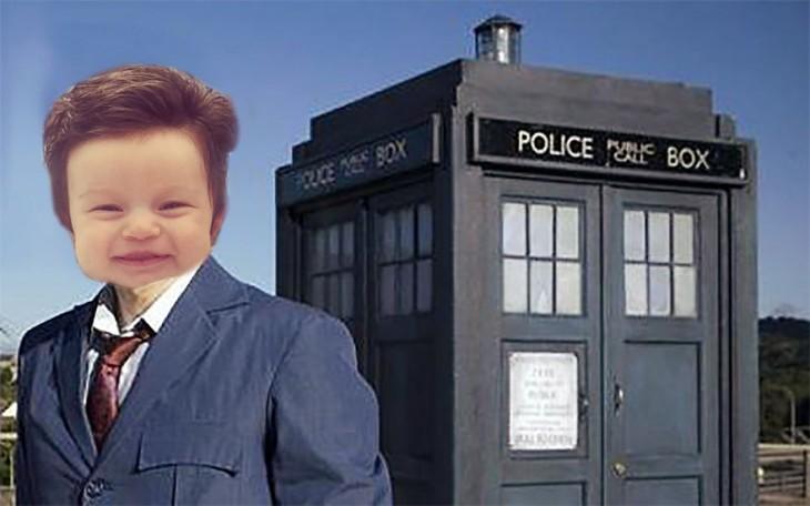 imagen de la bebé con mucho pelo en una escena del Dr. david tennant