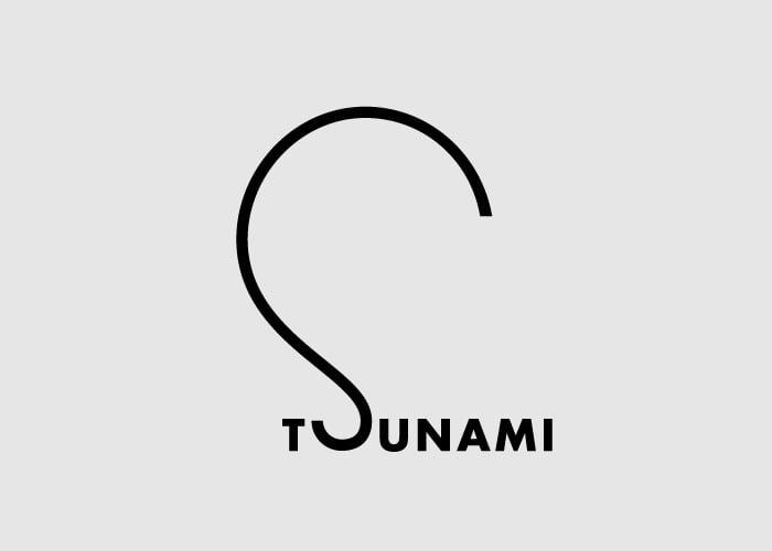 caligrama de la palabra tsunami